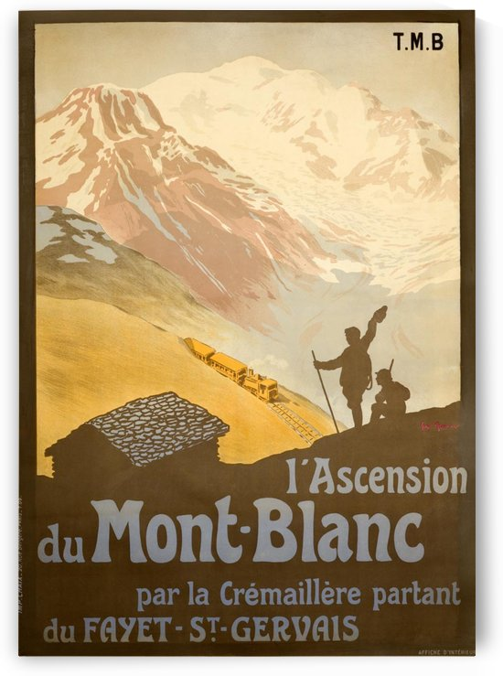 French Vintage Ski Poster for Mont-Blanc by VINTAGE POSTER