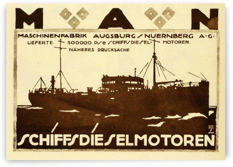 Schiffsdieselmotoren vintage poster for MAN by VINTAGE POSTER