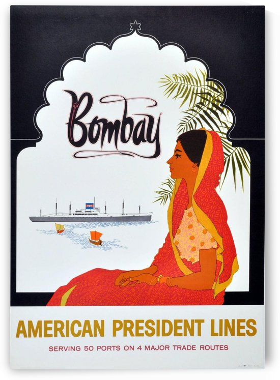 Original Vintage 1950 Cruise Travel Poster - Bombay By American President Lines by VINTAGE POSTER