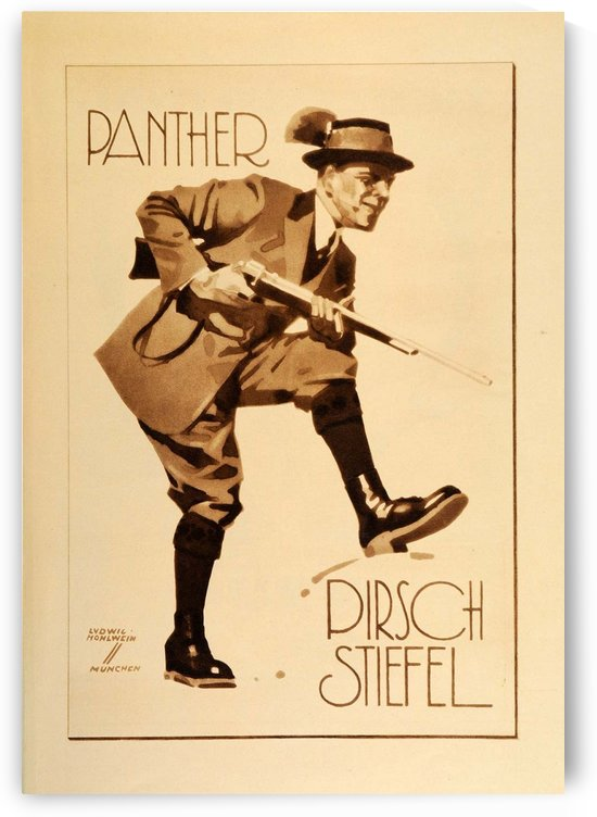 1920 Ludwig Hohlwein Poster Lithographs and Gravures Panther Pirsch Stiefel by VINTAGE POSTER