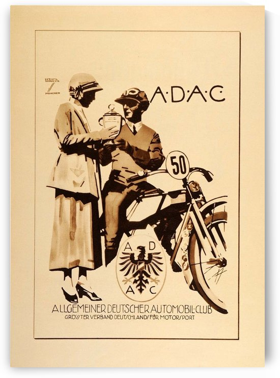 1920 Ludwig Hohlwein Poster Lithographs and Gravures for ADAC by VINTAGE POSTER