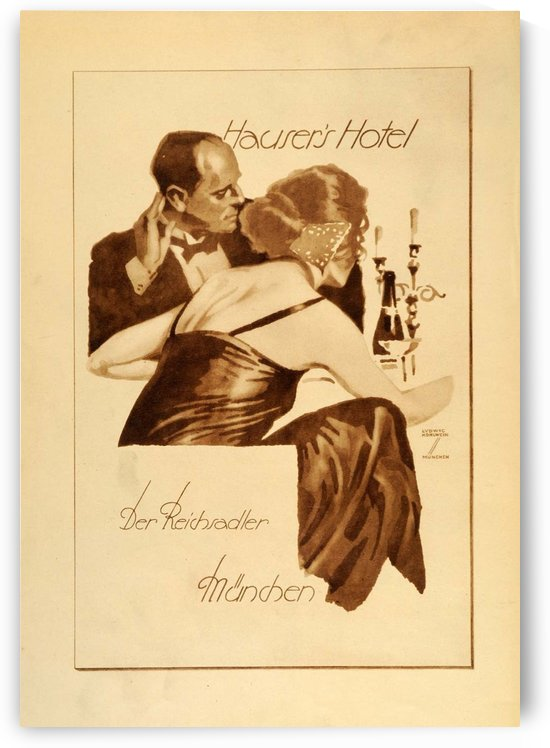 1920 Ludwig Hohlwein Poster Lithographs and Gravures Hausers Hotel by VINTAGE POSTER
