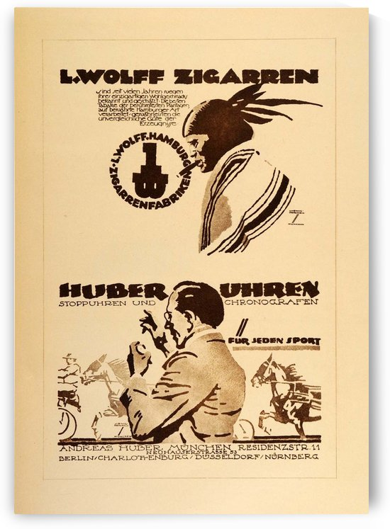 1920 Ludwig Hohlwein Poster Lithographs and Gravures Huber Uhren by VINTAGE POSTER