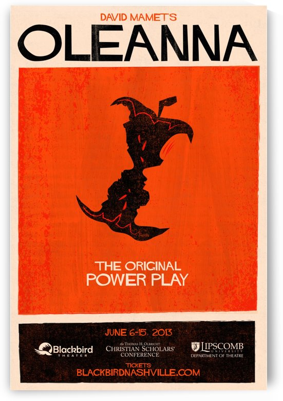 Oleanna poster for Black Bird Theater by VINTAGE POSTER