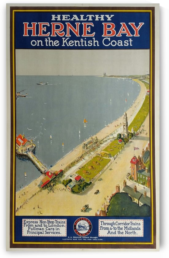 Healthy Herne Bay on the Kentish coast railway poster by VINTAGE POSTER