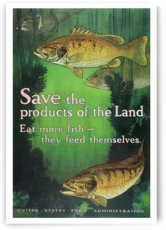 Art Poster Advertisement Eat More Fish by VINTAGE POSTER