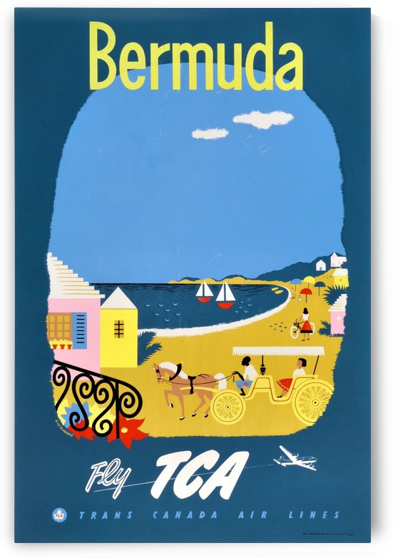 Bermuda Travel Poster for Fly Trans Canada Airline by VINTAGE POSTER