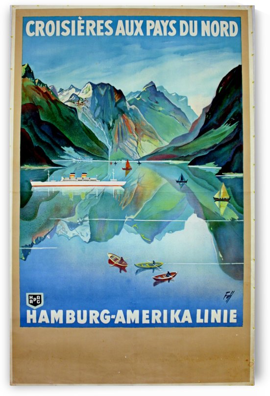 Art Deco Travel Poster Hamburg Amerika Cruise Line Scandinavia by VINTAGE POSTER