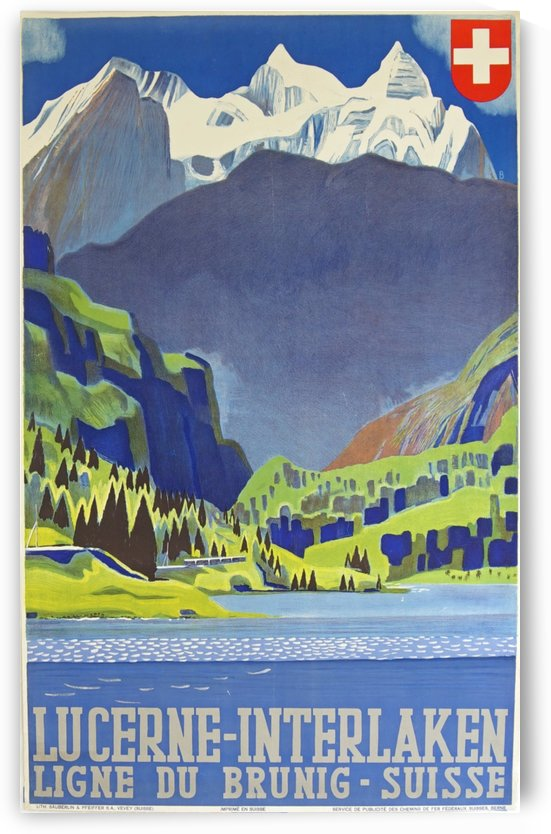 Swiss Alps Lucerne Interlaken Railway travel poster by VINTAGE POSTER