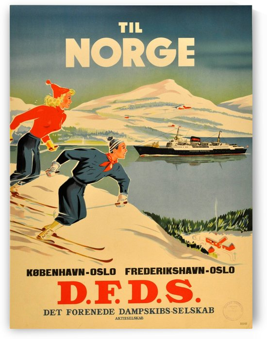 Original Vintage Poster Advertising Skiing In Norway By DFDS by VINTAGE POSTER