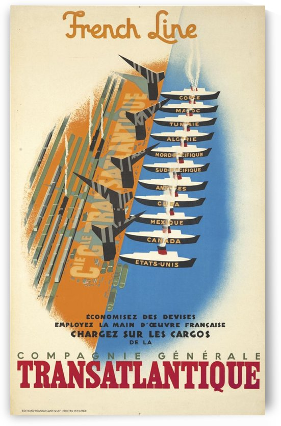 French Line Compagnie Generale Transatlantique poster by VINTAGE POSTER