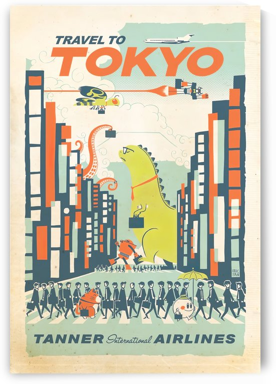 Tanner International Airlines Travel to Tokyo poster by VINTAGE POSTER