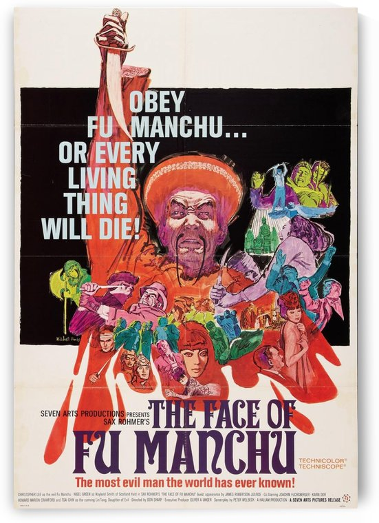 The face of Fu Manchu movie poster by VINTAGE POSTER