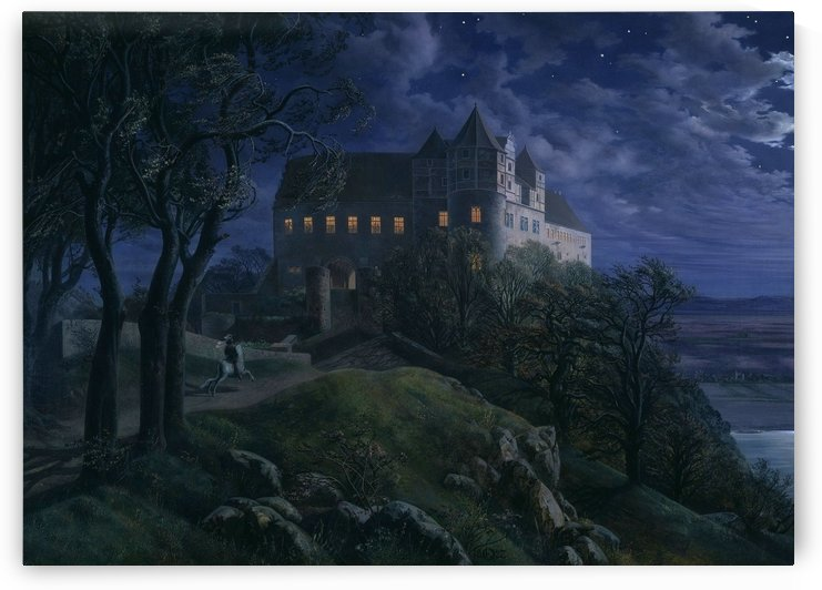 Scharfenberg castle by night by Ernst Ferdinand Oehme