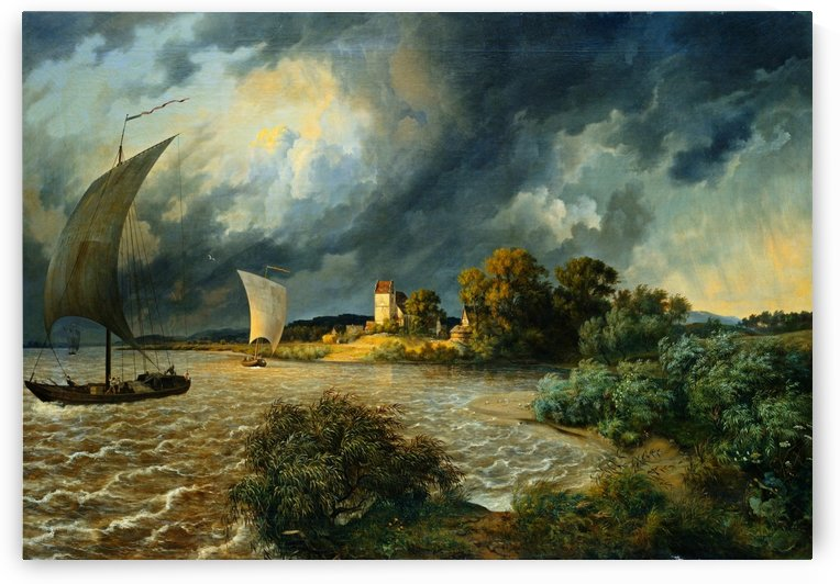 Thunderstorm in the area of the village Kaditz by Ernst Ferdinand Oehme