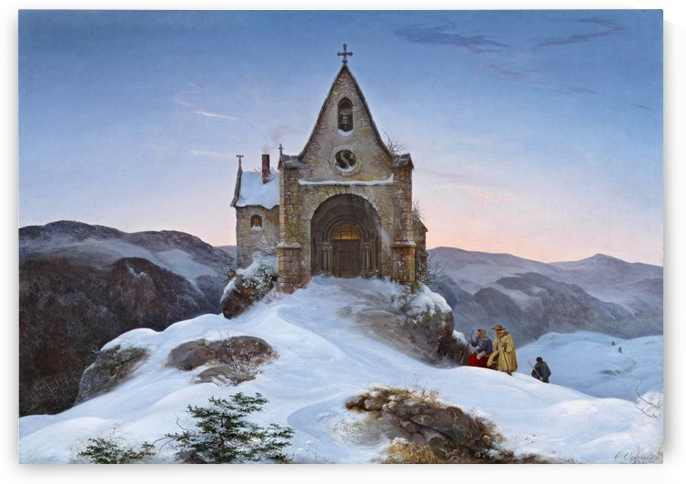 Bergkapelle in Winter by Ernst Ferdinand Oehme