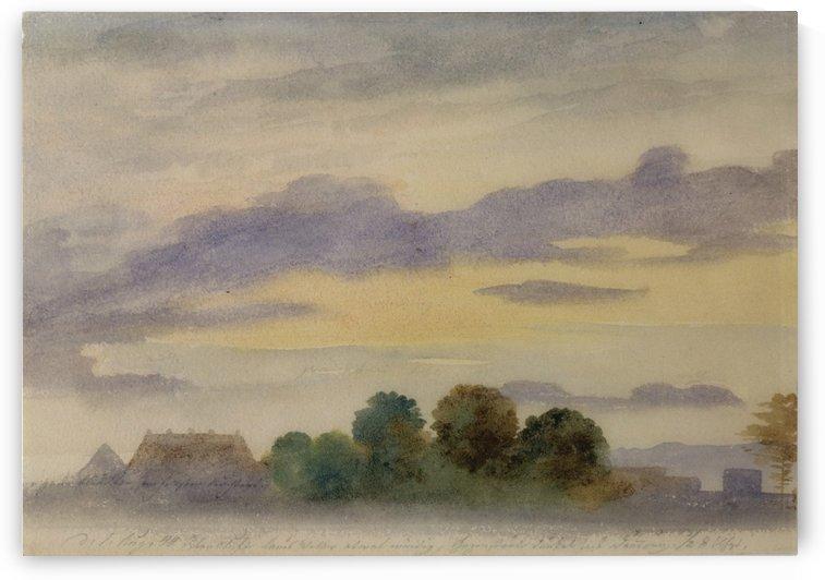 Landscape at dusk by Ernst Ferdinand Oehme