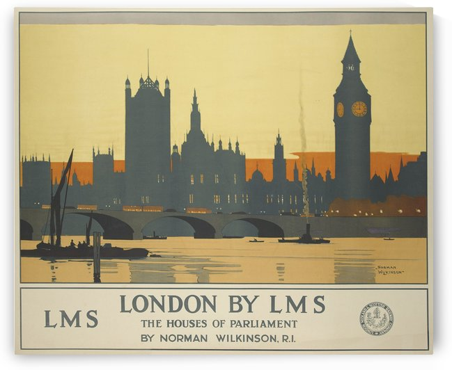 London by LMS The Houses of Parliament by VINTAGE POSTER