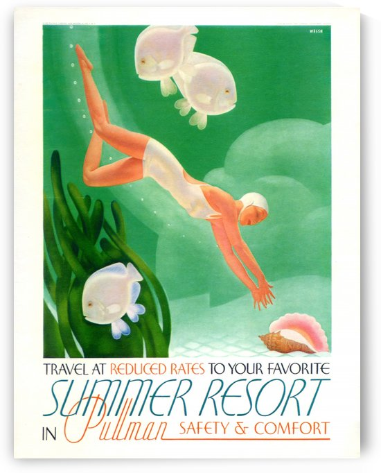 Summer resort in Pullman vintage travel poster by VINTAGE POSTER