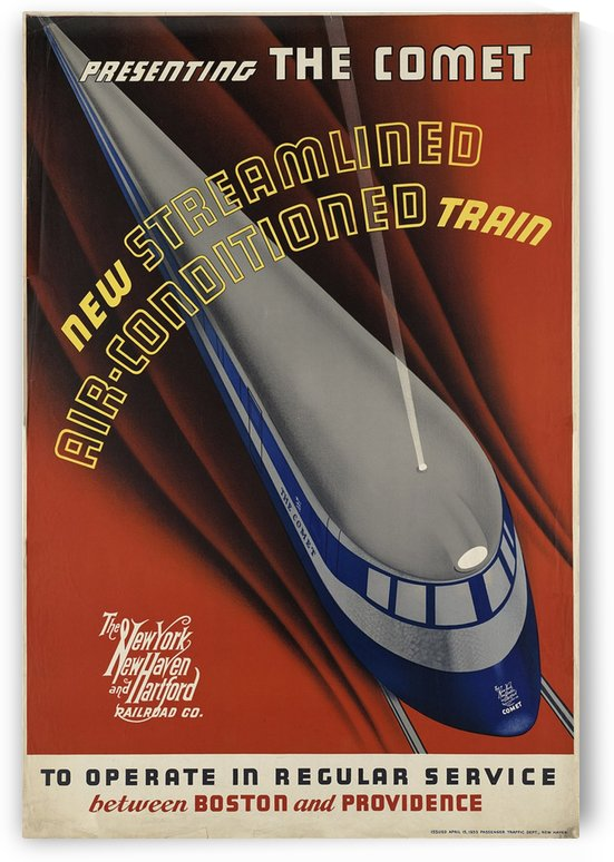 Presenting The Comet, Air-Conditioned Train New York poster,1935 by VINTAGE POSTER