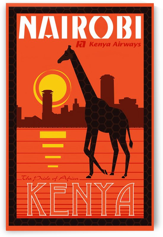 Nairobi The pride of Africa Kenya Airways travel poster by VINTAGE POSTER