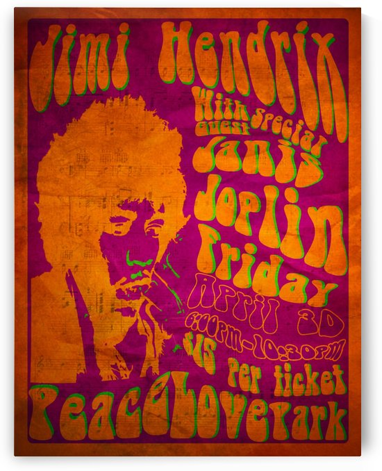 Jimi Hendrix vintage music poster by VINTAGE POSTER