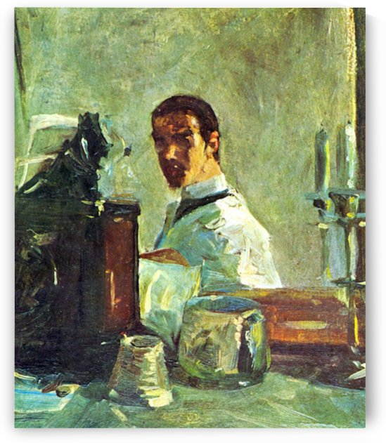 Self Portrai looking in a Mirror by Toulouse-Lautrec by Toulouse-Lautrec