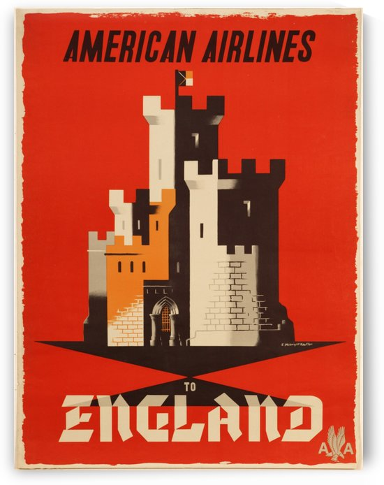 American Airlines To England vintage travel poster by VINTAGE POSTER