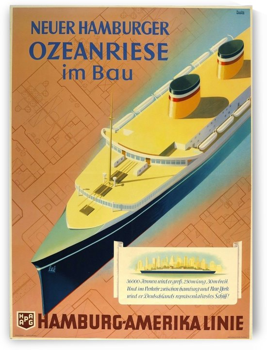Hamburg - America Line vintage travel poster by VINTAGE POSTER