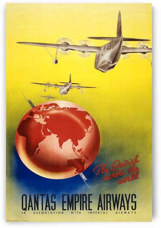 Qantas Empire Airways travel poster 1938 by VINTAGE POSTER
