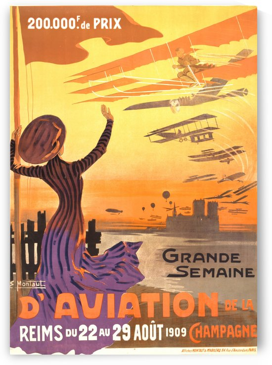 Reims France Aviation Poster Week August 22-29, 1909 by VINTAGE POSTER