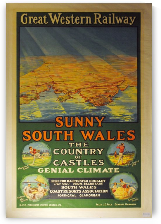 Great Western Railway Sunny South Wales vintage poster by VINTAGE POSTER