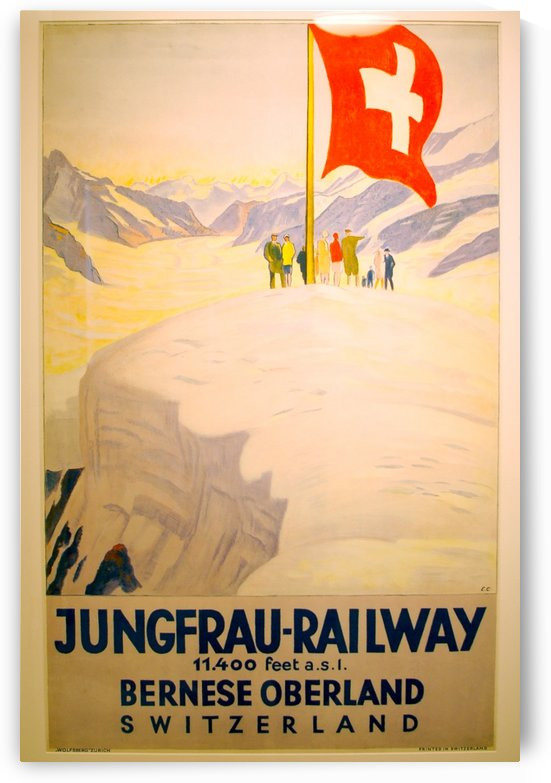 Jungfrau Railway Swiss travel poster by VINTAGE POSTER