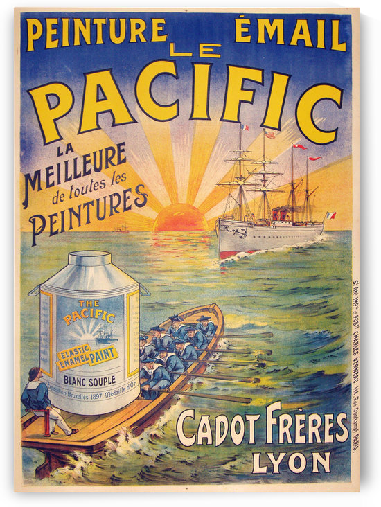 Peinture Email Le Pacific vintage travel poster by VINTAGE POSTER