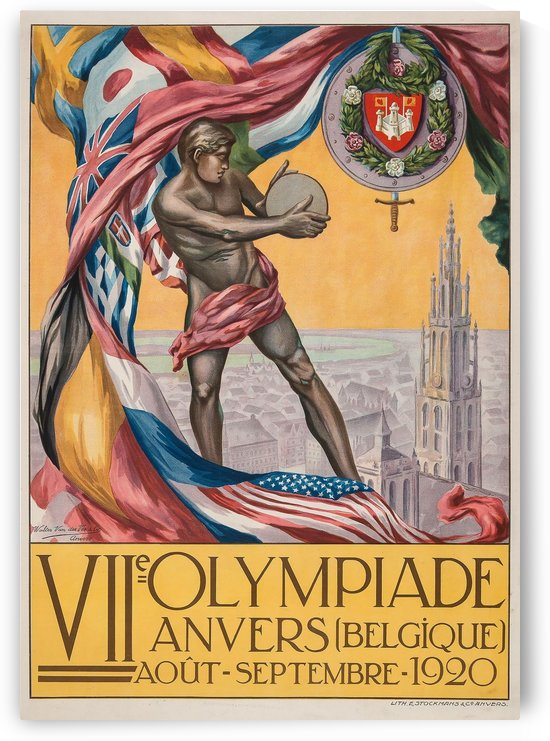 VII Olympiade, Anvers lithographic poster by VINTAGE POSTER
