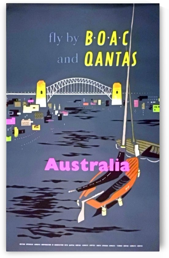 Original 1954 BOAC Australia Travel Poster by VINTAGE POSTER