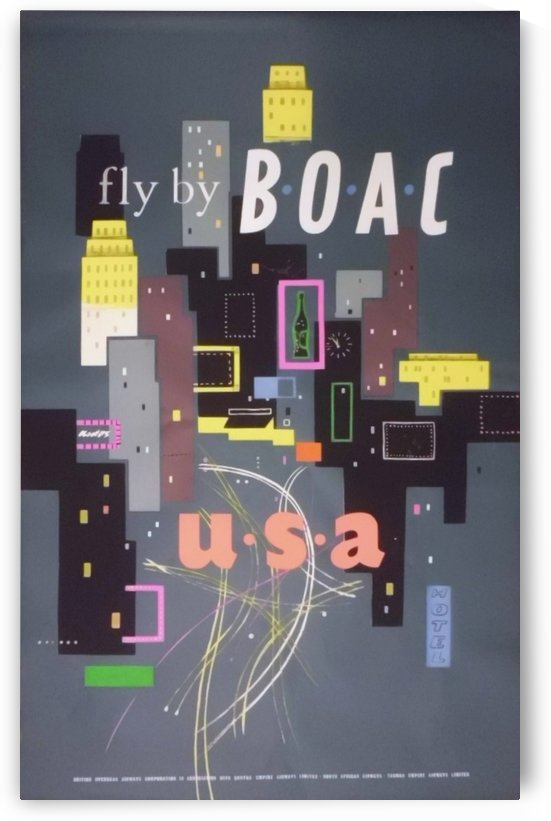 Original 1954 BOAC USA Travel Poster by VINTAGE POSTER