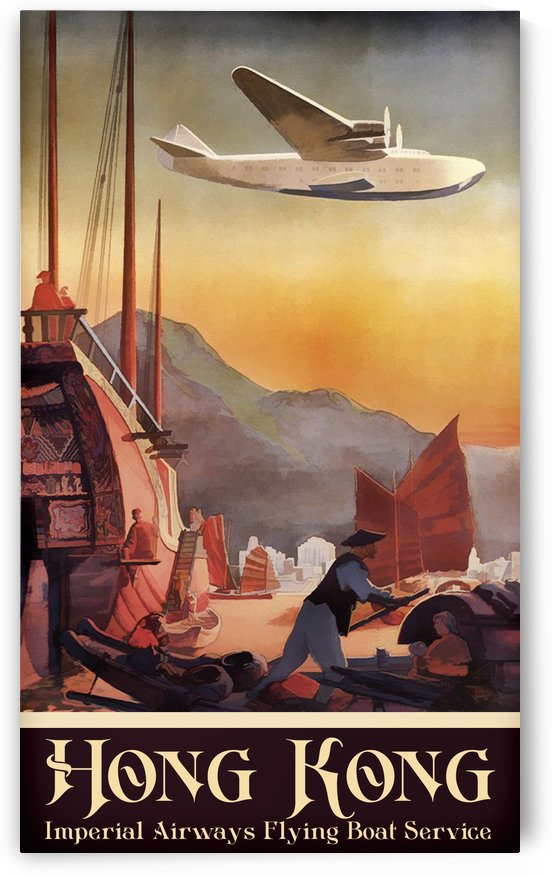 Hong Kong Imperial Airways Flying Boat Service by VINTAGE POSTER