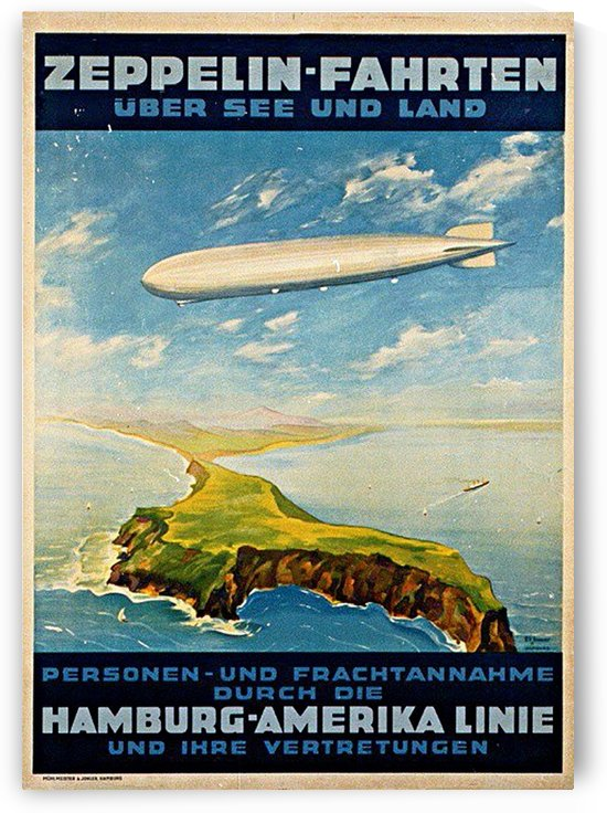 Zeppelin Hamburg America Line Poster by VINTAGE POSTER