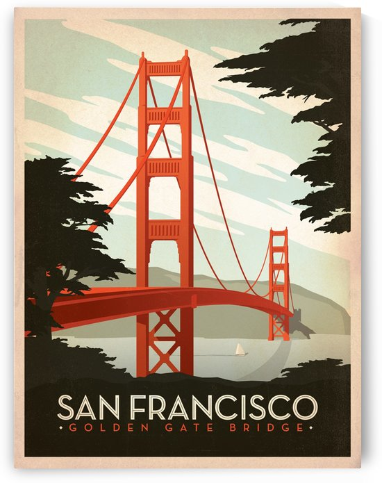 San Francisco Golden Gate Bridge vintage poster by VINTAGE POSTER