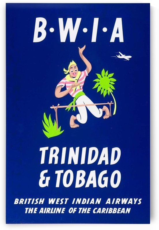 BWIA Trinidad Tobago original travel poster by VINTAGE POSTER