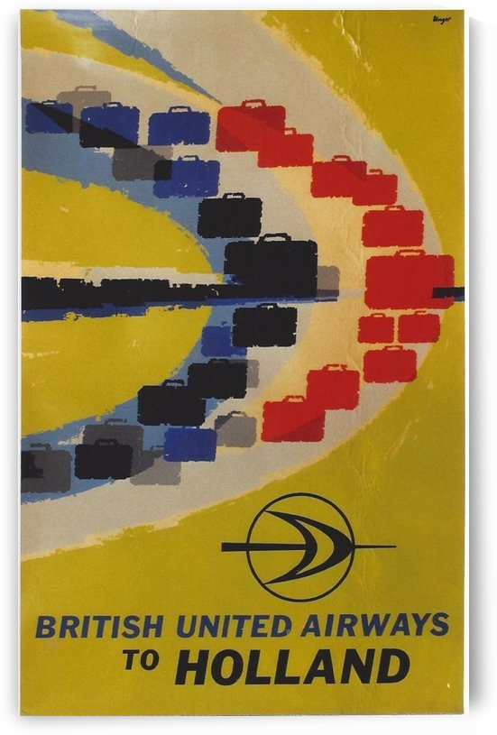 British United Airlines to Holland travel poster by VINTAGE POSTER