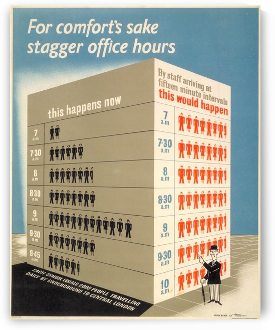 London Underground Stagger office hours poster by VINTAGE POSTER
