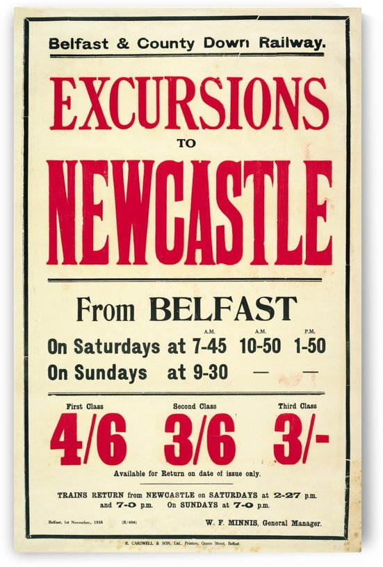 Excursions to Newcastle from Belfast by VINTAGE POSTER