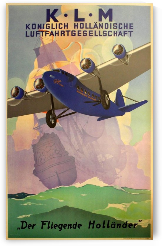 Original Vintage 1933 KLM Travel Advertising Poster by VINTAGE POSTER