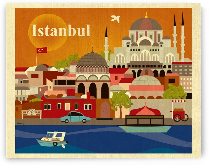 Istanbul Skyline Turkish Art Print by VINTAGE POSTER