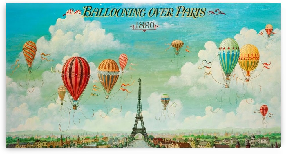 Ballooning over Paris by VINTAGE POSTER