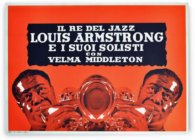 Jazz Poster Louis Armstrong Modernist Design Milan Italy Concert by VINTAGE POSTER