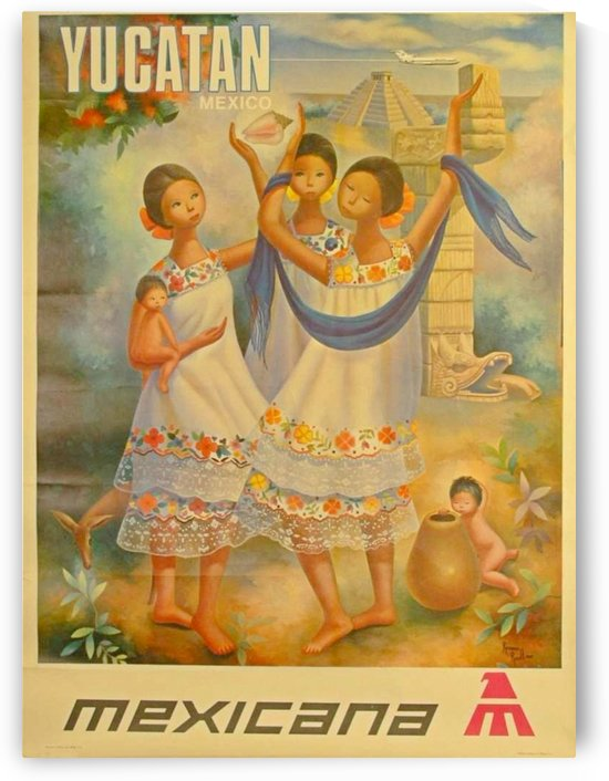 Yucatan Mexico Mexicana Airlines by VINTAGE POSTER