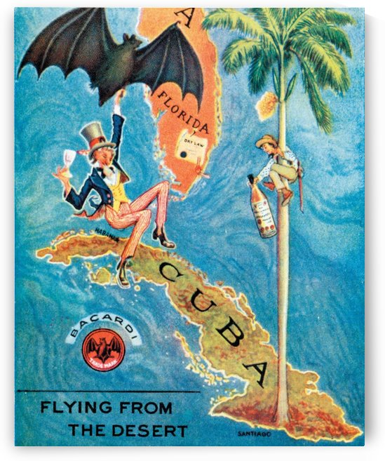 Bacardi flying from the desert by VINTAGE POSTER